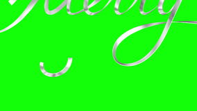 Feliz Navidad del texto de plata de la cinta de la escritura sobre fondo verde metrajes