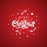 Feliz Navidad del texto del vector aislada en forma cósmica roja de la bola redonda Tarjeta de felicitación festiva manuscrita de libre illustration