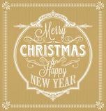 Feliz Navidad del vintage y Feliz Año Nuevo caligráficas y marco del ornamento Imagen de archivo