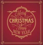 Feliz Navidad del vintage y Feliz Año Nuevo caligráficas y marco del ornamento en fondo rojo Imagenes de archivo