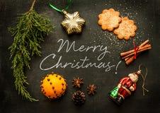 Feliz Navidad - diseño del cartel o de la postal foto de archivo