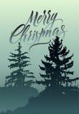 Feliz Navidad Diseño retro caligráfico de la tarjeta de felicitación de la Navidad con paisaje del invierno Fotos de archivo