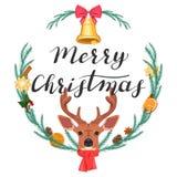 Feliz Navidad Ejemplo con un ciervo y una guirnalda stock de ilustración
