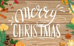 Feliz Navidad Ejemplo en fondo de madera libre illustration