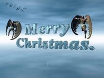 Feliz Navidad en cielo celeste con ángeles. stock de ilustración