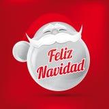 Feliz Navidad en español con el fondo rojo ilustración del vector