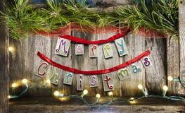 Feliz Navidad en la madera Imagenes de archivo