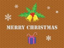 Feliz Navidad en la pared de ladrillo Imagenes de archivo