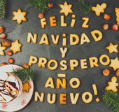 FELIZ NAVIDAD EN SPANISH COOKIES. Words Merry Christmas and happy new year en Spanish with baked cookies, Christmas card. For hispanic countries top view Royalty Free Stock Photos