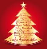 Feliz Navidad en varias idiomas en un árbol de navidad de oro. libre illustration