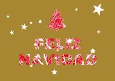 Feliz Navidad Espagnol de Noël - Espagne, carte de voeux illustration stock