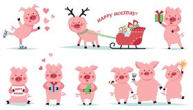 Feliz Navidad Fije de cerdos divertidos de la Navidad en diversas actitudes Caracteres lindos en el juego Ilustración del vector libre illustration