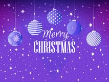 Feliz Navidad Fondo con las bolas y los copos de nieve de la Navidad Vector ilustración del vector