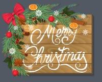 Feliz Navidad Fondo de madera con las ramas, las especias y un arco rojo hermoso ilustración del vector