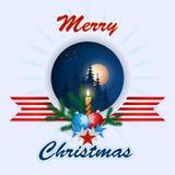 Feliz Navidad, fondo del diseño con las bolas de la Navidad, las ramas de árbol de navidad y la vela Imagenes de archivo