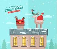 Feliz Navidad Fondo del invierno del vector santa libre illustration