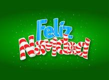 FELIZ NAVIDAD - frohe Weihnachten in der spanische Sprachengrünabdeckung der Grußkarte mit Sternen im Hintergrund Größe: 15 cm x  Lizenzfreies Stockbild