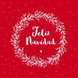 Feliz Navidad - glad jul Spanskt julvektorkort stock illustrationer