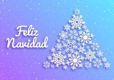 Feliz Navidad Glad julkort med hälsningar i spanskt språk Julgran som göras av vita snöflingor xmas stock illustrationer