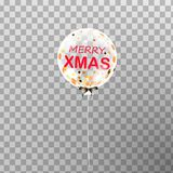 Feliz Navidad Globo transparente blanco del helio de la Navidad aislado en el aire Foto de archivo libre de regalías