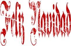 Feliz Navidad Gothic Script Lettering Stock Photography