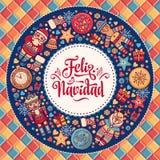 Feliz navidad. Greeting card in Spain. Xmas festive background. Colorful image. Stock Photography