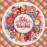 Feliz navidad. Greeting card in Spain. Xmas festive background. Royalty Free Stock Images