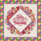 Feliz navidad. Greeting card in Spain. Xmas festive background. Colorful image. Stock Image