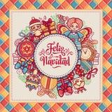 Feliz navidad. Greeting card in Spain. Xmas festive background. Colorful image. Stock Photos