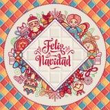 Feliz navidad. Greeting card in Spain. Xmas festive background. Colorful image. Royalty Free Stock Photography