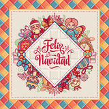 Feliz navidad. Greeting card in Spain. Xmas festive background. Colorful image. Royalty Free Stock Images