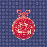 Feliz navidad. Greeting card in Spain. Xmas festive background. Royalty Free Stock Photography