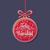 Feliz Navidad Hälsningkort i Spanien Festlig bakgrund för Xmas royaltyfri illustrationer