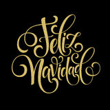 Feliz Navidad hand lettering decoration text for greeting card design template. Merry Christmas typography label in Stock Image