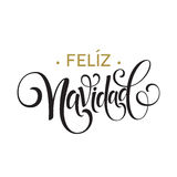 Feliz Navidad hand lettering decoration text for greeting card design template. Merry Christmas typography label in stock illustration