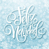 Feliz Navidad hand lettering decoration text for greeting card design template. Merry Christmas typography label in. Spanish. Calligraphic inscription for Stock Photography
