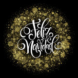 Feliz Navidad hand lettering decoration text for greeting card design template. Merry Christmas typography label in Stock Images