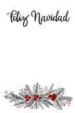 Feliz Navidad Hand Lettering Greeting Card. Vector Illustration. Modern Calligraphy royalty free illustration
