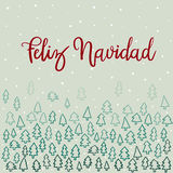 Feliz Navidad Hand Lettering Greeting Card. Vector Illustration. Modern Calligraphy vector illustration