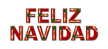 Feliz Navidad Holiday Gift Text Background. Feliz Navidad in wrapped Christmas gift letters with ribbons and bows, on a white background Stock Photo