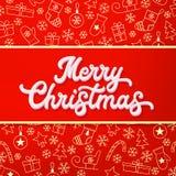 Feliz Navidad Inscripción blanca de las letras 3d en rojo y fondo de la Navidad del oro con los trineos, árboles, bolas, regalos Imagenes de archivo