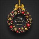 Feliz navidad - julhälsningar i spanskt vektor illustrationer