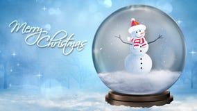 Feliz Navidad 4K del globo de la nieve del muñeco de nieve stock de ilustración