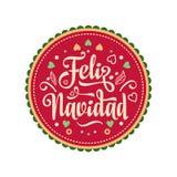 Feliz Navidad karciany ilustraci wektoru xmas Hiszpański język Zdjęcie Stock