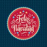 Feliz Navidad karciany ilustraci wektoru xmas Hiszpański język Fotografia Stock