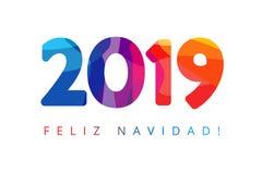 2019, Feliz Navidad-Kerstmis Spaanse groeten, vertaalt: Vrolijke Kerstmis stock illustratie