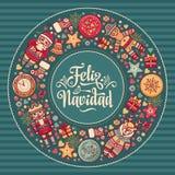 Feliz Navidad Kerstmiskaart op Spaanse taal Warme wensen voor gelukkige vakantie Stock Afbeelding