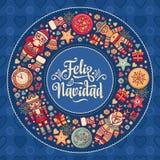 Feliz Navidad Kerstmiskaart op Spaanse taal Warme wensen voor gelukkige vakantie Stock Foto's