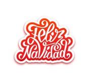 Feliz navidad lettering. Merry Christmas greetings Stock Photography