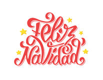 Feliz navidad lettering. Merry Christmas greetings Stock Photo